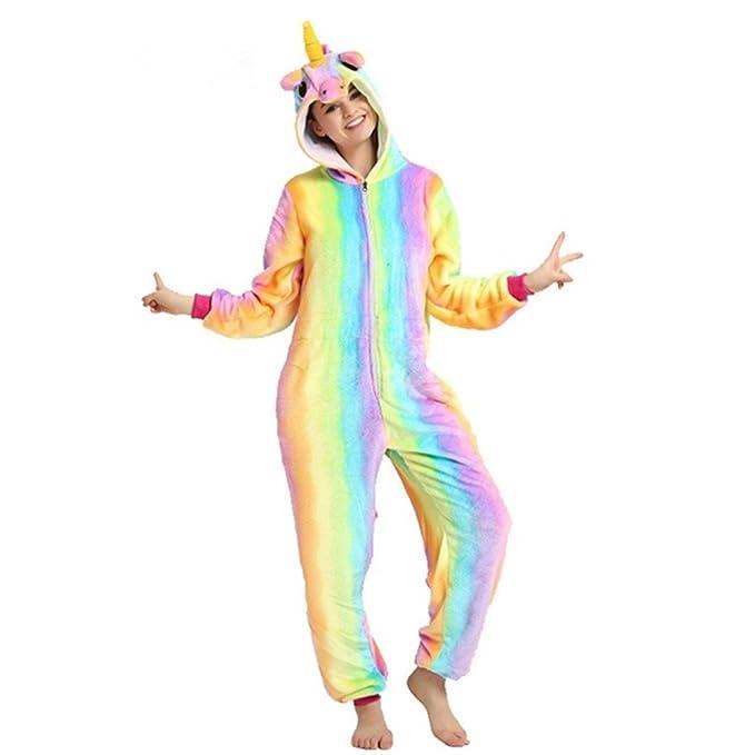 db454c49 Rainbow Fox Unicornio Pijama Adultos Cosplay Disfraz Animal Ropa de Dormir  Franela Novedad Víspera de Todos los Santos Navidad Ropa