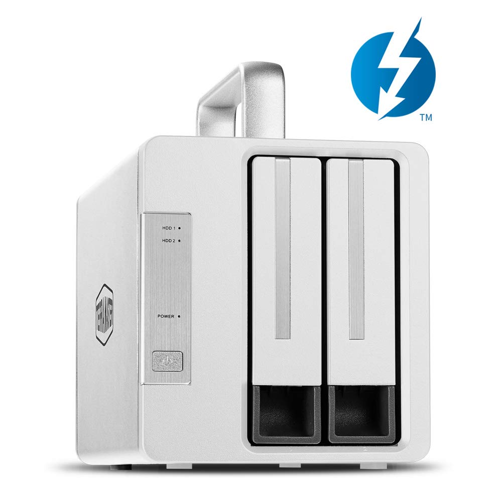 TerraMaster D2 Thunderbolt 3 Professional-Grade 2-Bay External Hard Drive Enclosure RAID 0/RAID1/JBOD Hard Disk RAID Storage (Diskless)