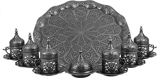 Traditional Design Cast Zamak Turkish Armenian Arabic Greek Coffee Set, Coffee Cup, Espresso Set, Tea Set for Six- Dark Grey - (CS6-210)