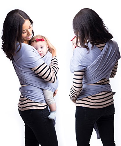 Best Baby Carrier Sling Wrap for Moms – Original Grey Cotton Quality Material – Comfortable, Durable, Fashionable – For Mothers with Infant Newborn to 35lbs Babies – Shower Gift – By Belephant Baby