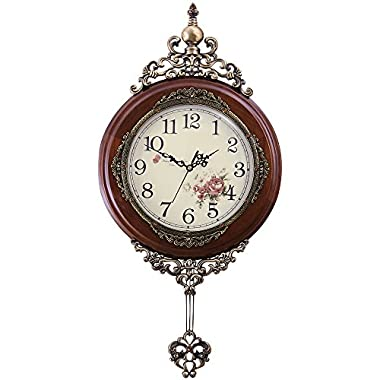 HENSE 13-inch Antique Retro Decorative Wood Clocks Ultra Mute Silent Quartz Movement Wooden Wall Clock with Swinging Pendulum HP06 (Brown)