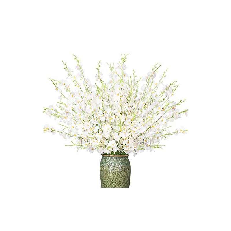 silk flower arrangements yiliyajia artificial flowers bouquets fake bridal silk butterfly dancing lady orchid flowers tall flowers 35.4'',oncidium floral for wedding home office decoration,12pcs (white)