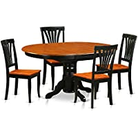East West Furniture AVON5-BLK-W 5-Piece Dining Room Table Set, Black/Saddle Brown Finish