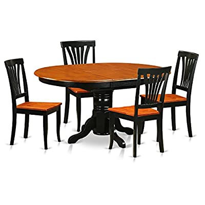 5 Pc Dining room set-Oval Table with Leaf and 4 Dining Chairs - Include: this 5 piece set includes one oval dining room table and 4 matching dinette chairs with wood seat in a black and saddle brown finish Superior dining chairs that constructed with 100-Percent Asian hardwood an absence of MDF, veneer, laminate utilized with our products - kitchen-dining-room-furniture, kitchen-dining-room, dining-sets - 51yUoujaoOL. SS400  -