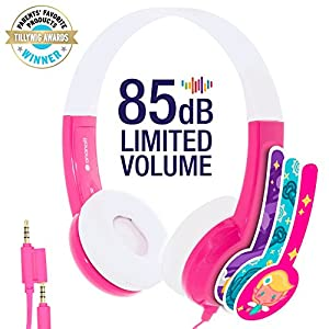 ONANOFF BuddyPhones Discover | Kids Headphones | Non-Foldable, Durable, Comfortable | Kids Safe Volume Limiting | Built in Audio Splitter | Pink