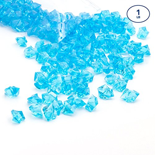 Acrylic Gems Ice Crystal Rocks for Vase Fillers, Party Table Scatter, Wedding, Photography, Party Decoration, Crafts by Royal Imports, 1 LB (Approx 180-200 gems) - (Aqua Blue Gem)