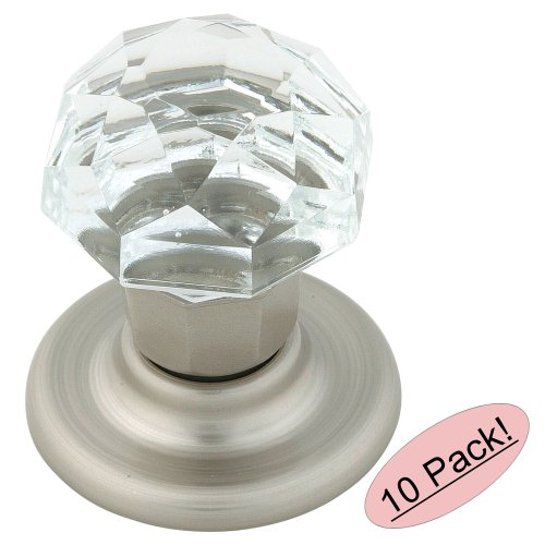 Amerock Crystal - Amerock E5247-CSG Clear Crystal with Satin Nickel Base Cabinet Hardware Knob, 1-1/4 Inch Diameter - 10 Pack