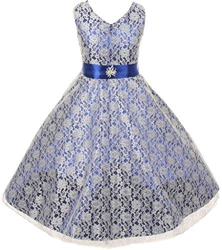 Big Girls' Lace Overlay Satin Brooch Flowers Girls Dresses Royal Size 8