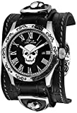Daniel Steiger Midnight Skull Men's Quartz Watch - Engraved Stainless Steel Case - Cuff Style Black Leather Strap With Shield Accents - Oversize Gothic Buckle - Magnificent Presentation Case