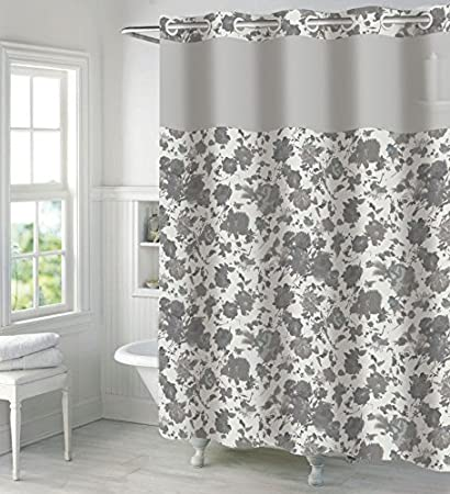 Hookless Faux Silk Shower Curtain With Peva Liner Snow White