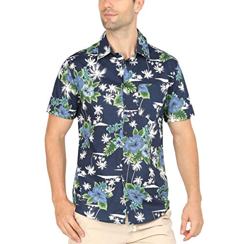 WULFUL Tropical Hawaiian Shirt Mens Coconut Tree Flower Printed Casual Button Down Short Sleeve Beach Shirt ()