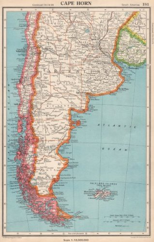 Amazon cape horn patagonia argentina chile falkland islands patagonia argentina chile falkland islands bartholomew 1952 old map gumiabroncs Image collections