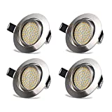 LED Recessed Ceiling Lights Spotlights 3.5W Downlights Warm White 3000K 400LM 230V IP20 Protection Round Nickel for Living Room Bedroom Kitchen (Pack of 4)