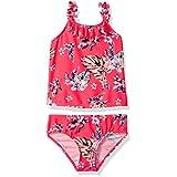 Osh Kosh Little Girls' Palms Tankini Swimsuit Set, Coral Red, 5