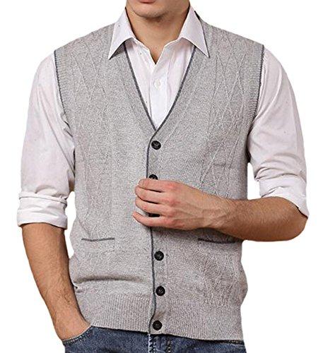 DD.UP Men's V-Neck Solid Color Argyle Pattern Button Down Sweater Vest with - Button Down Mens Vest Argyle
