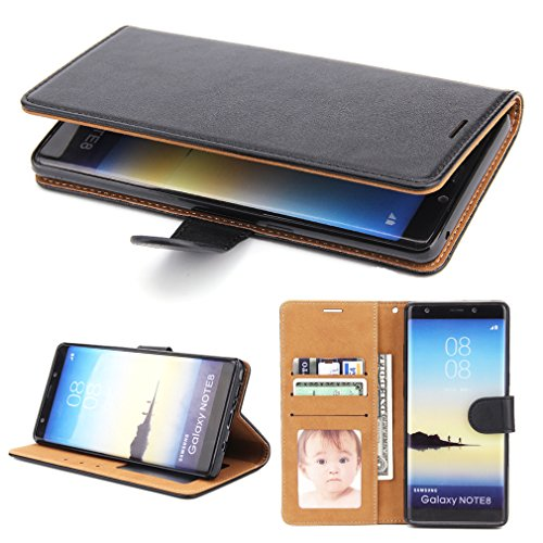 Galaxy Note 8 Case, SOWOKO [Book Style] Note 8 Leather Wallet Case Flip Folio Shockproof Protection Cover with Credit Card Slots and Kickstand for Samsung Galaxy Note 8 (Black) by SOWOKO