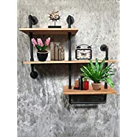 Wendy JINGQI Industrial Pipe Shelf For Home Organizer Storage, 4 Tiers Rustic Urban Style Metal Wall Mounted Ledge Bookcase Shelf Rustic Modern Wood ladder pipe wall shelf