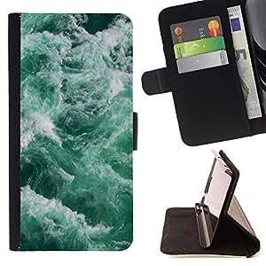 For HTC Desire 626 626w 626d 626g 626G dual sim Case , Las olas del mar Espuma trullo Verde Agua- la tarjeta de Crédito Slots PU Funda de cuero Monedero caso cubierta de piel