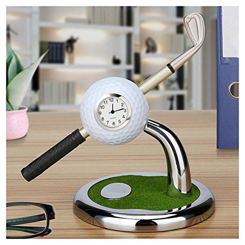 Golf Gifts Novelty Pen Holder Set Of a Mini Clock Golf Decorations Office Desk Gifts,Golf Souvenirs Desktop Pen Holder With One Pen,Birthday Christmas Gifts For Dad,Friend,Golf Lover,Husband