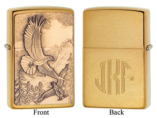 Personalized Zippo Where Eagles Dare Emblem Brushed Brass Lighter with Free Monogram