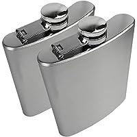 Rosenice Flachmann van roestvrij staal, 200 ml, voor vloeistoffen en Alcolici Vari (zilver)