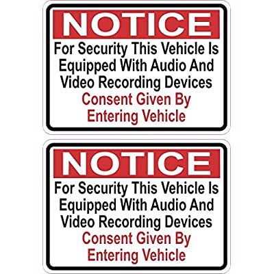 StickerTalk Audio and Video Recording Consent Vinyl Stickers, 1 Sheet of 2 Stickers, 3.5 inches by 2.5 inches Each : Office Products