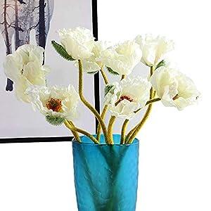 Artfen 5 Pcs Artificial French Corn Poppy Silk Poppy Flocking Long Stem Flowers Home Wedding Party Decor 25″ High No Vase Elegant White