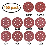MoonSpect 100Pcs Detail Sander Sandpaper Sanding Paper Hook and Loop Assorted 40/ 60/ 80/ 120/ 180/ 240/ 400/ 600/ 800/ 1000 Grits (Orbital+8 holes)
