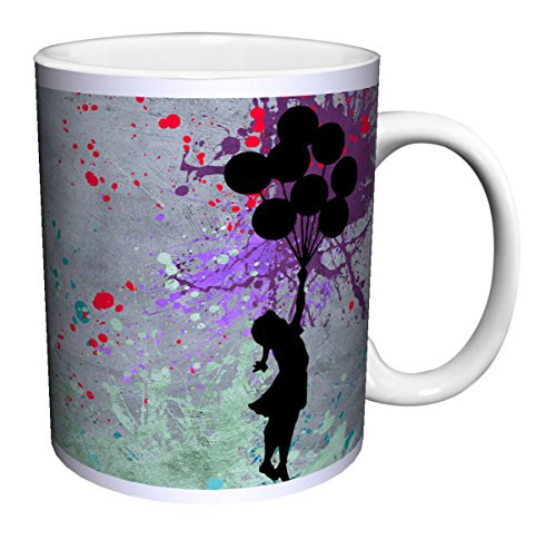 Banksy Girl with Balloons Inspirational Motivational Political Decorative Graffiti Urban Art Ceramic Gift Coffee (Tea, Cocoa) 11 Oz. Mug