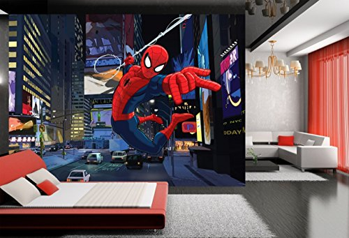 "WallandMore XXL The Amazing Spiderman Wall Decal Mural For boys Bedroom 141.5"" W by 106"" H - Mural xxl Spiderman Wall Mural - Kids Room - Boys Wall Murals - Playroom Decor - Bedroom Decals"