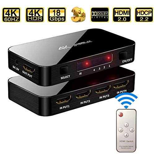 HDMI Switch 4X1, 4K Ultra HD HDMI Switcher Support HDMI 2.0 HDCP 2.2, 3D, 1080P, 4Kx2k@60Hz (IR Remote Control)