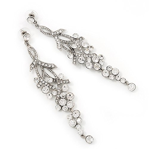 Crystal Chandelier Earrings ( Silver Plated Metal) - 11.5cm Drop (Swarovski Clear Crystal Chandelier Earrings)