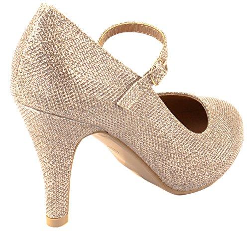 Bella Marie Shoes Donna Helena-13 Tacco Alto In Camoscio Con Fibbia Chiusura Con Fibbia Champagne