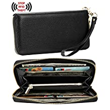 Heshe Womens RFID Blocking Leather Long Zippered Around Wallet Clutch with Wrist Strap (Black)
