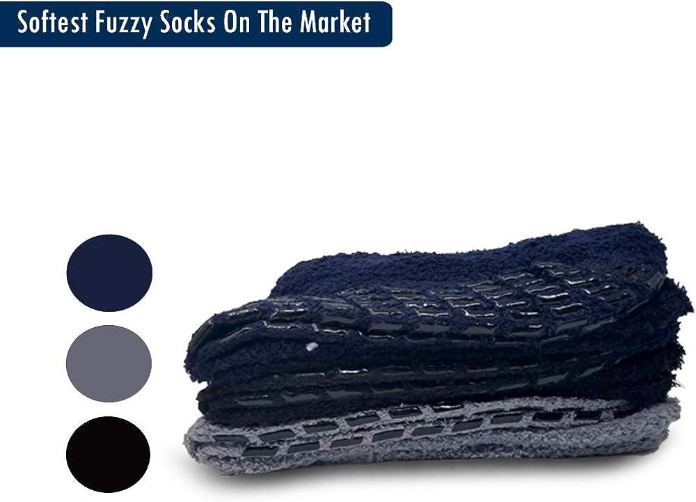 Debra Weitzner Non skid Hospital Socks For Women Men Cozy Fuzzy Socks 3 Pairs