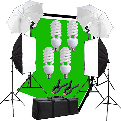 Hakutatz Pro 1.8M x 2.7M/6ft x 9ft Muslin Background Support System and 800W 6500K Umbrellas Softbox Continuous Lighting Kit for Photo Studio Portrait and Video Shooting Photography Kit by Hakutatz