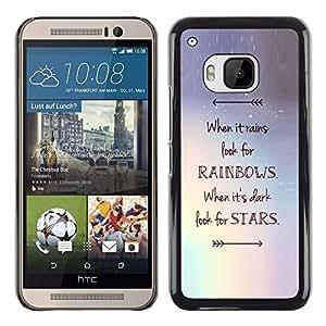 Planetar® ( Stars Arrow Rainbows Motivational ) HTC One M9 Fundas Cover Cubre Hard Case Cover