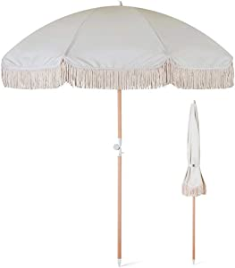 ZXYY Small Garden Umbrella 2m Round Umbrellas Tassel Wooden Umbrellas Parasols with tilt Function White Waterproof and UV Protection for Outdoor Patio Swimming Pool Swimming Pool Balcony