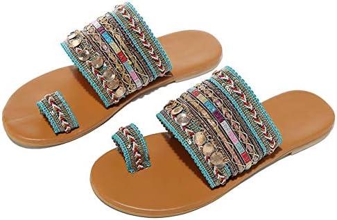 Leorealko 1 Pair Women Bohemian Flat Sandals Slippers