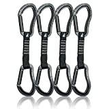 Fusion Climb 4-Pack 12cm Tactical Military Rescue Quickdraw Set with Techno Zoom Straight Gate Black/Techno Zoom Straight Gate Black Carabiners