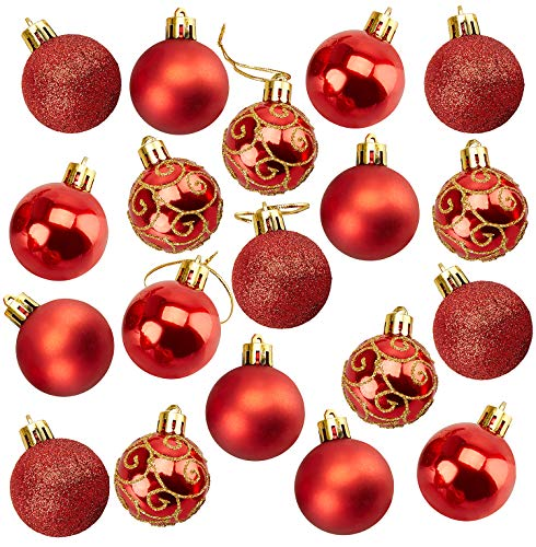 Juvale 36-Pack Christmas Tree Ornaments - Red Shatterproof Medium Christmas Balls Decoration, Assorted 4-Finish Shiny, Matte, Glitter, Glitter Scroll, Hanging Plastic Bauble Holiday Decor, 2.3 Inches (Ornaments Christmas Red Shatterproof)