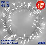 Fairy Lights 200 LED Bright White Christmas Tree Lights String Lights - 8 Functions 20m/65ft Lit Length with 3m/10ft Lead Wire Power Operated, Ideal for Christmas Tree Festive Wedding Birthday Party & Bedroom Decorations Indoor Use Only