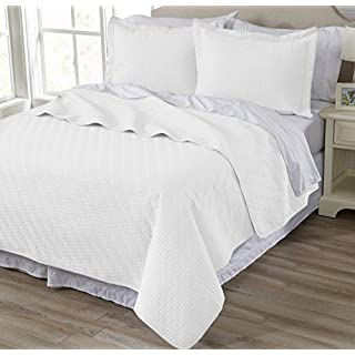 Home Fashion Designs 2-Piece All Season Quilt Set. Twin Size Quilt with 1 Sham. Soft Microfiber Bedspread and Coverlet. Emerson Collection (White)