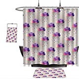 Pink and Purple Polka Dot Shower Curtain QINYAN-Home 3-Piece Bathroom Geometric Decor Retro Decor Triangle Pattern Geometric Art Mosaic RaIn Drops On Polka Dots Print Purple Grey Pink. Shower Curtain and Non-Slip mat(Ten Sizes Select)