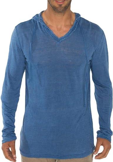 Hibote Camisetas Casuales para Hombres, Blusa Suelta de algodón ...