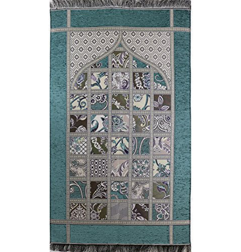 Islamic Prayer Mat - Chenille Namaz Sajadah Janamaz Woven Thin Quilt Pattern (Teal)