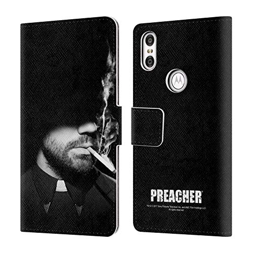 Official Preacher Smoking Black & White Jesse Custer Leather Book Wallet Case Cover for Motorola One (P30 Play)