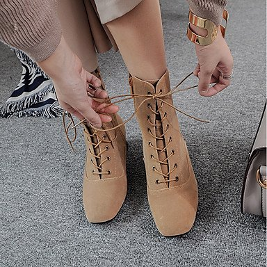 DESY Mujer Zapatos Aterciopelado Otoño Invierno Confort Botas Tacón Robusto Dedo cuadrada Cremallera Con Cordón Para Negro Gris Caqui khaki