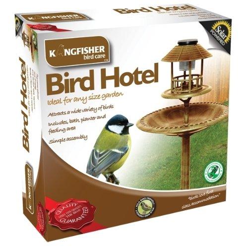 Bird Hotel With Built-In Solar Light and Bird Bath