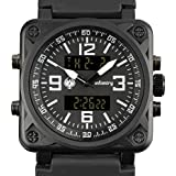 Infantry Stainless Steel Slim Men Watch Relojes de Hombre Quartz Sport Black Face Rubber Band Strap Watch